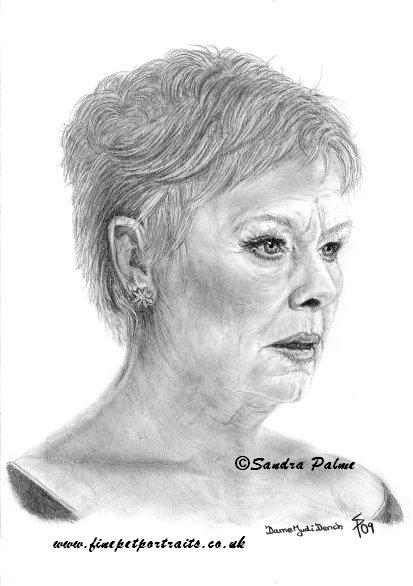 Dame Judi Dench Portrait Zeichnung