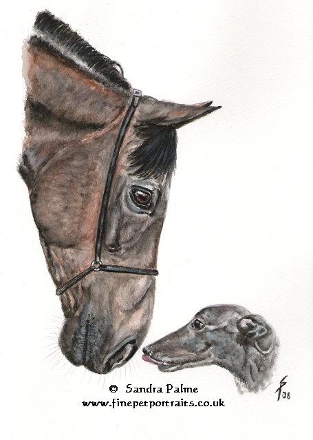 Pferd Hund Aquarell