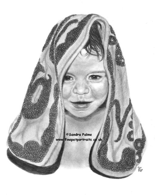 Kleines Kind Zeichnung in Kohle